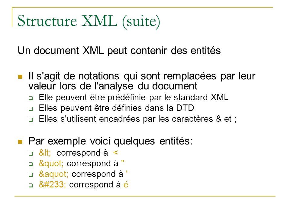 Structure XML (suite) Un document XML peut contenir des entités Il s'agit de notations qui sont remplacées par leur valeur lors de l'analyse du docume