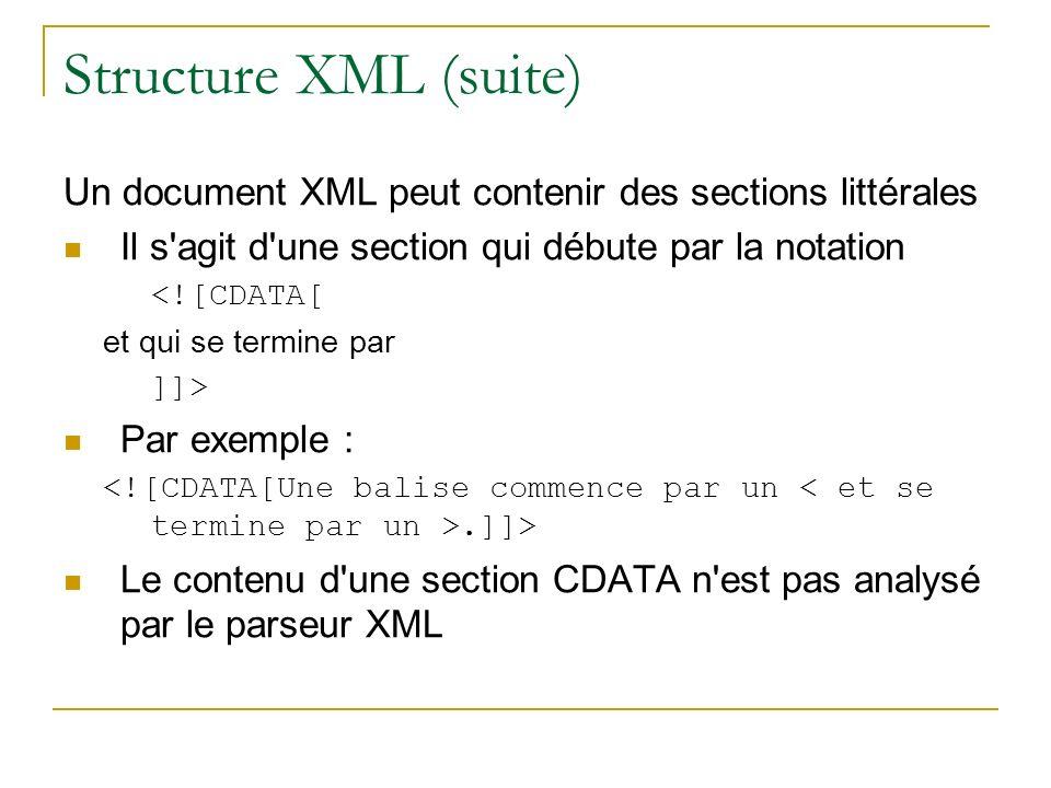 Structure XML (suite) Un document XML peut contenir des sections littérales Il s'agit d'une section qui débute par la notation <![CDATA[ et qui se ter