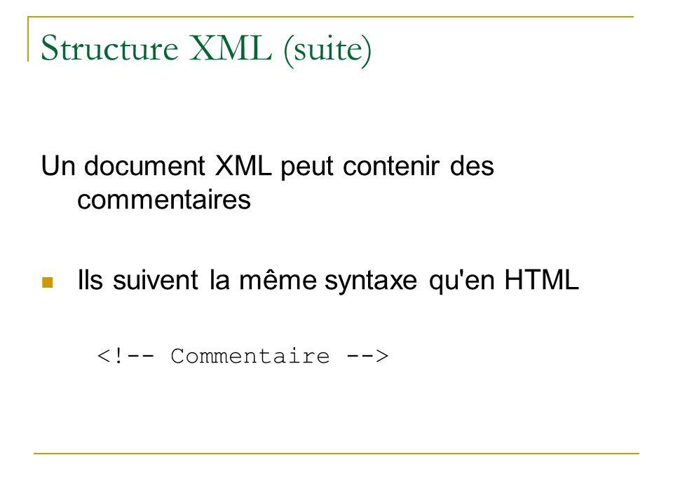 Structure XML (suite) Un document XML peut contenir des commentaires Ils suivent la même syntaxe qu'en HTML