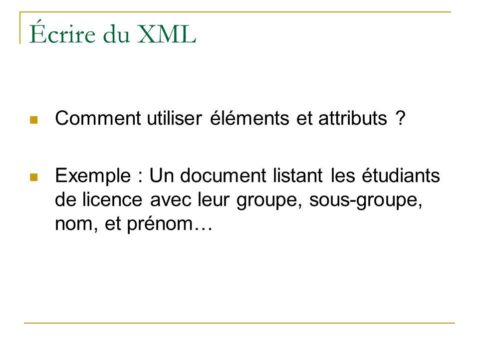 Écrire du XML Comment utiliser éléments et attributs ? Exemple : Un document listant les étudiants de licence avec leur groupe, sous-groupe, nom, et p