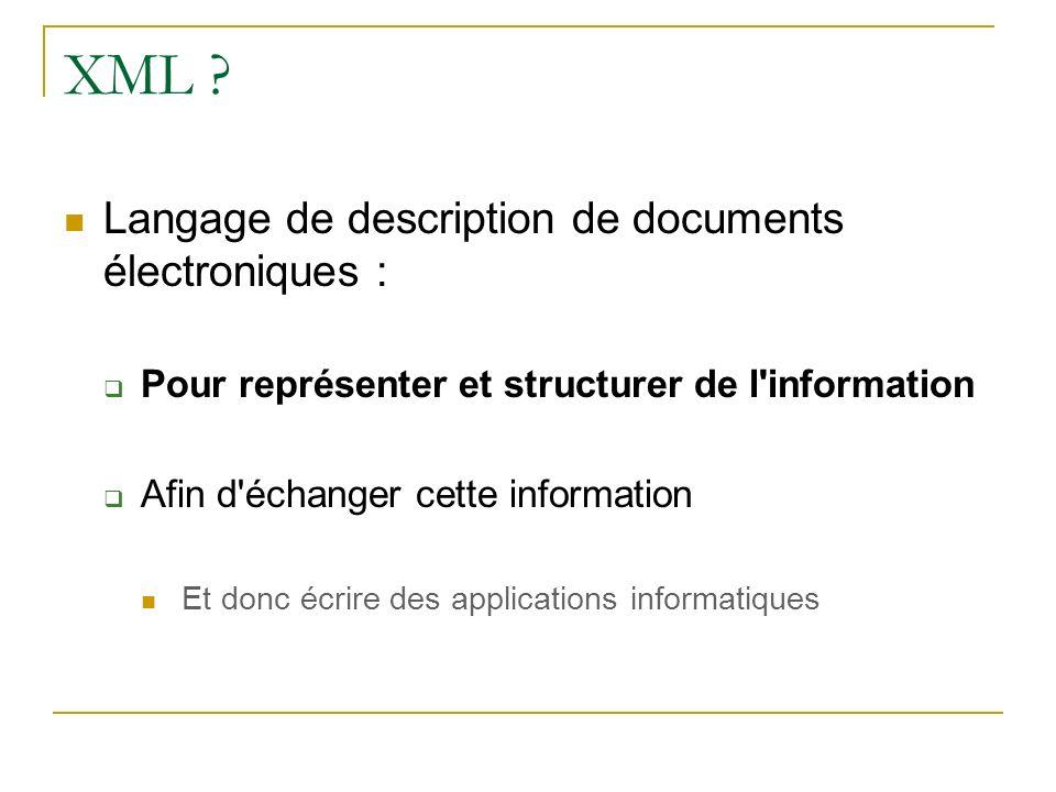 XML ? Langage de description de documents électroniques : Pour représenter et structurer de l'information Afin d'échanger cette information Et donc éc