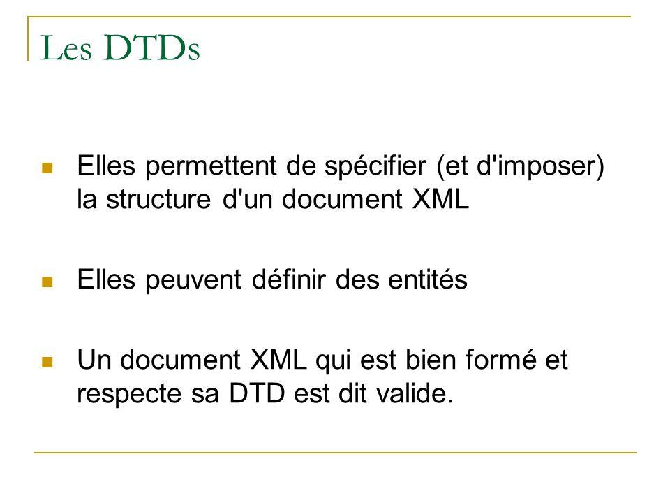 Les DTDs Elles permettent de spécifier (et d'imposer) la structure d'un document XML Elles peuvent définir des entités Un document XML qui est bien fo