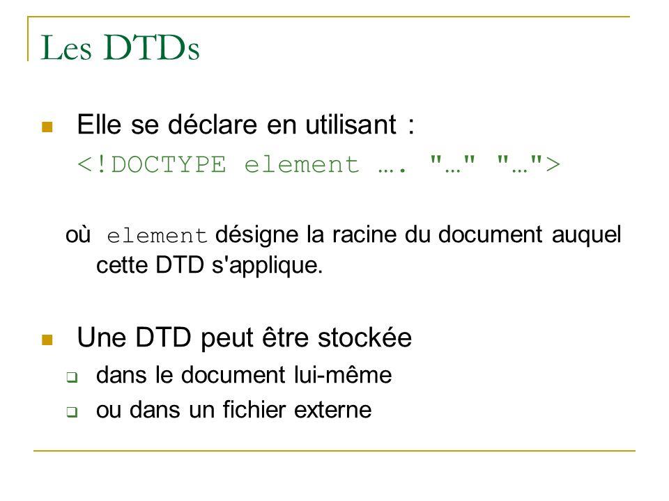 Les DTDs Elle se déclare en utilisant : où element désigne la racine du document auquel cette DTD s'applique. Une DTD peut être stockée dans le docume