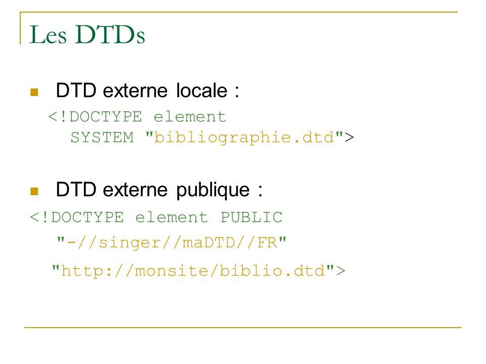 Les DTDs DTD externe locale : DTD externe publique : <!DOCTYPE element PUBLIC