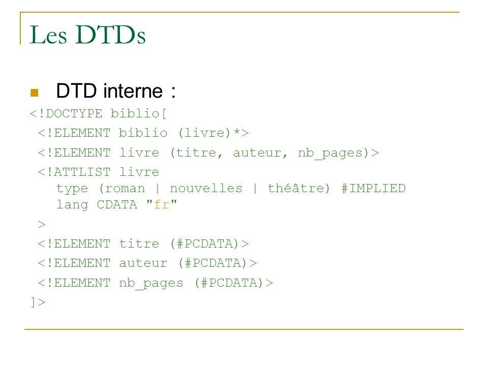 Les DTDs DTD interne : <!DOCTYPE biblio[ <!ATTLIST livre type (roman | nouvelles | théâtre) #IMPLIED lang CDATA