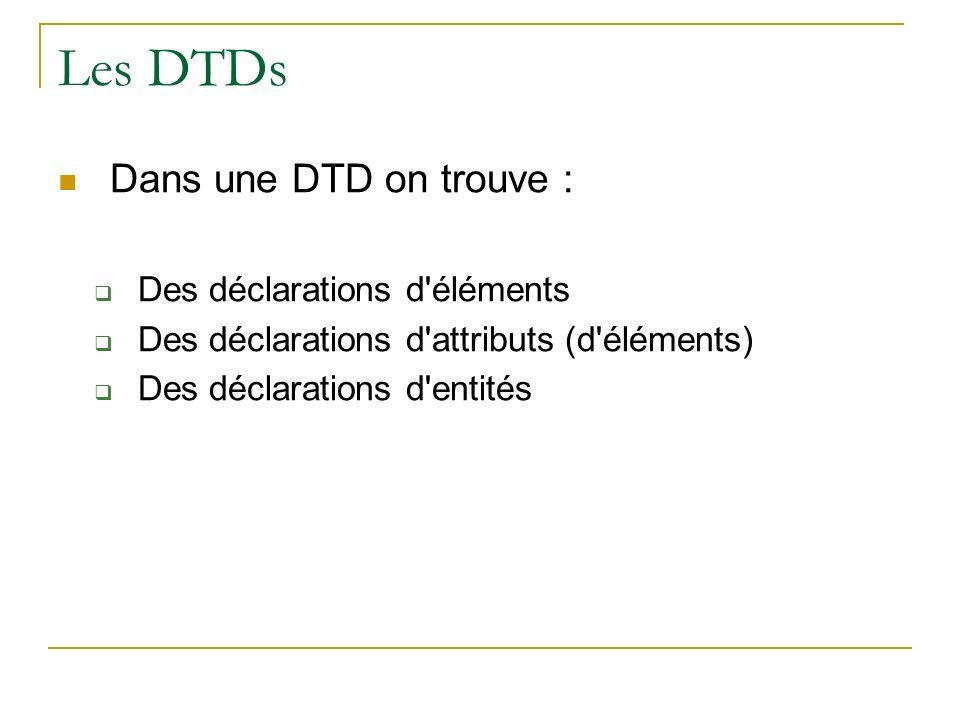 Les DTDs Dans une DTD on trouve : Des déclarations d'éléments Des déclarations d'attributs (d'éléments) Des déclarations d'entités