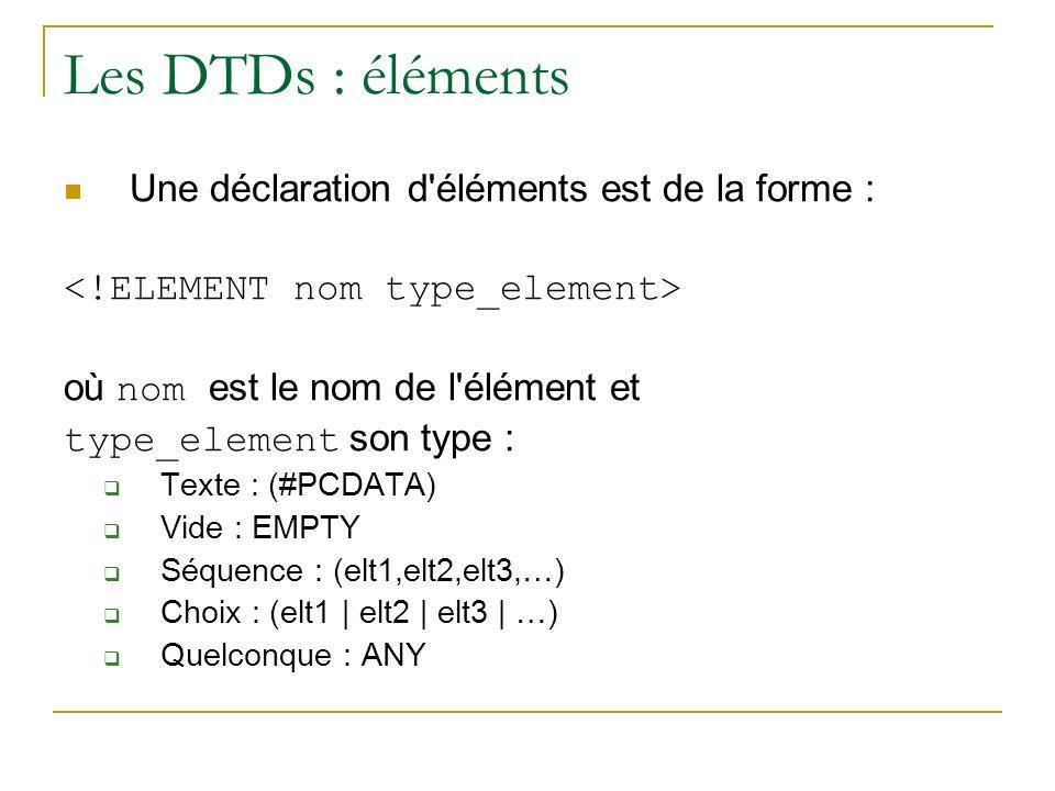 Les DTDs : éléments Une déclaration d'éléments est de la forme : où nom est le nom de l'élément et type_element son type : Texte : (#PCDATA) Vide : EM