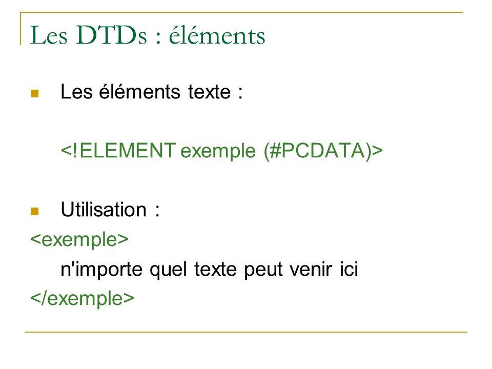 Les DTDs : éléments Les éléments texte : Utilisation : n'importe quel texte peut venir ici