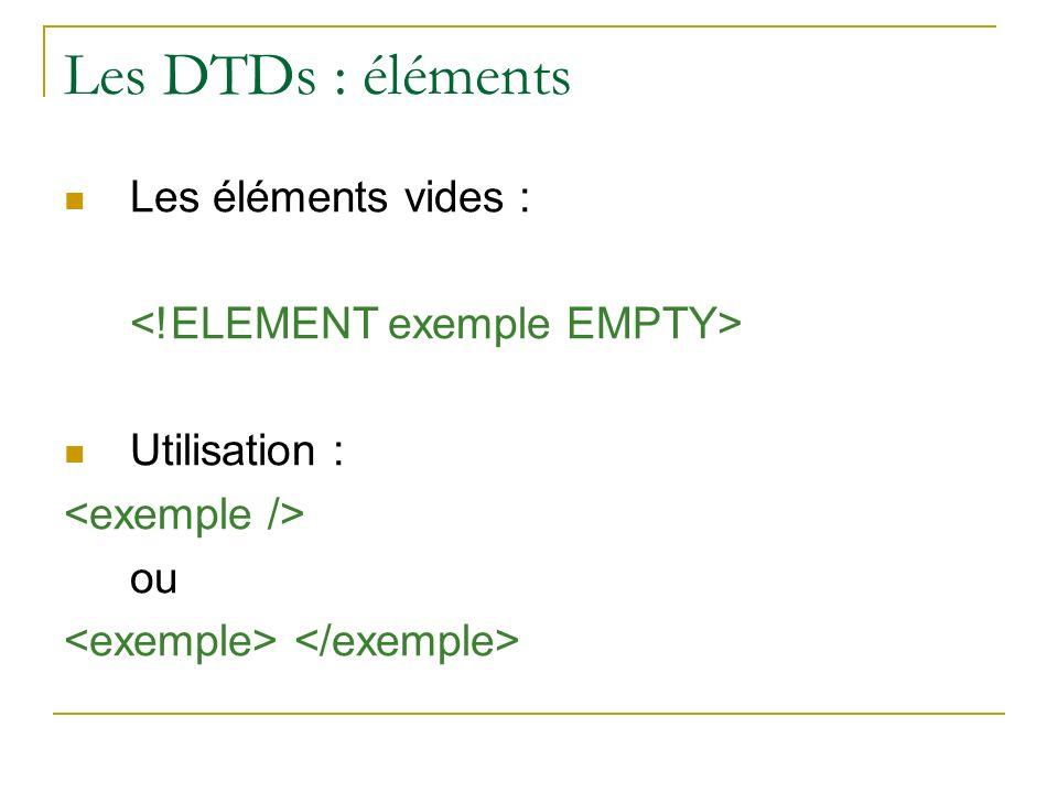 Les DTDs : éléments Les éléments vides : Utilisation : ou