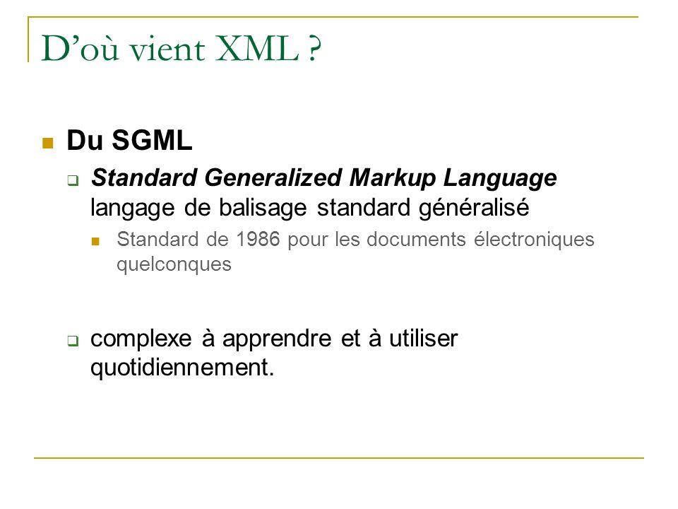 Doù vient XML ? Du SGML Standard Generalized Markup Language langage de balisage standard généralisé Standard de 1986 pour les documents électroniques