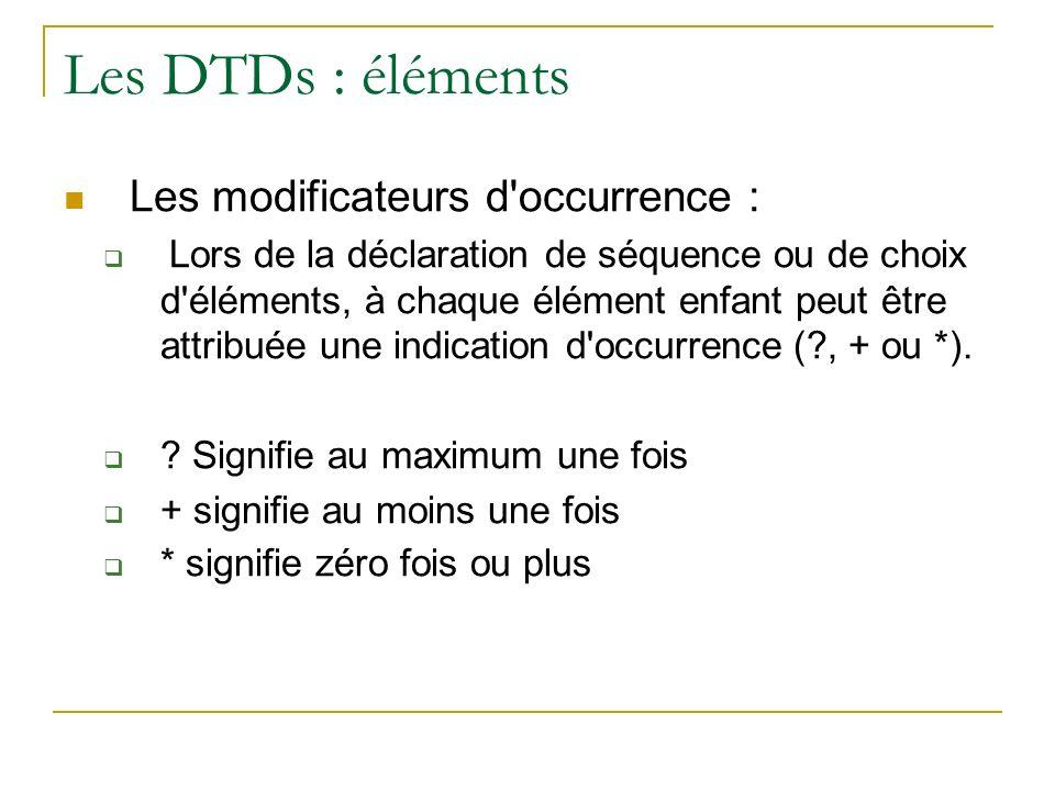 Les DTDs : éléments Les modificateurs d'occurrence : Lors de la déclaration de séquence ou de choix d'éléments, à chaque élément enfant peut être attr