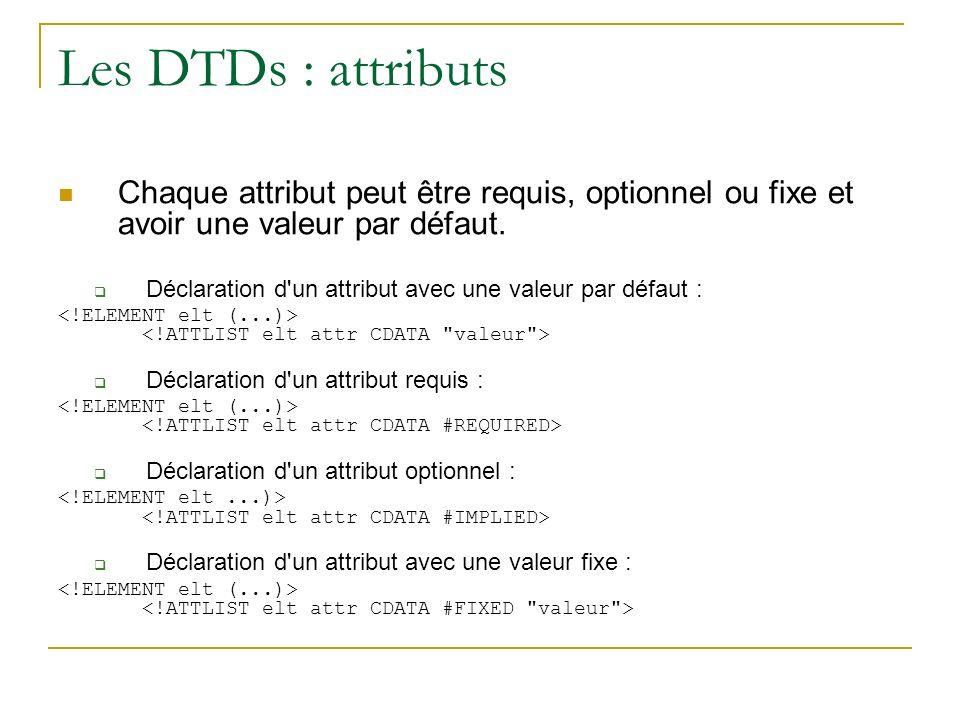 Les DTDs : attributs Chaque attribut peut être requis, optionnel ou fixe et avoir une valeur par défaut. Déclaration d'un attribut avec une valeur par