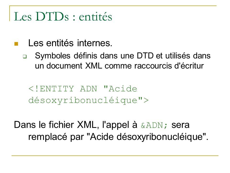 Les DTDs : entités Les entités internes. Symboles définis dans une DTD et utilisés dans un document XML comme raccourcis d'écritur Dans le fichier XML
