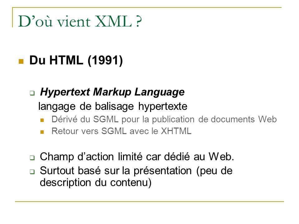 Doù vient XML ? Du HTML (1991) Hypertext Markup Language langage de balisage hypertexte Dérivé du SGML pour la publication de documents Web Retour ver