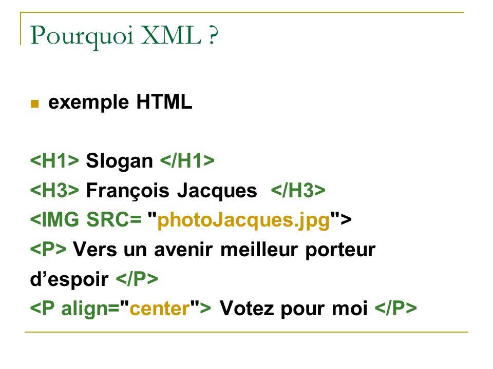 Pourquoi XML ? exemple HTML Slogan François Jacques Vers un avenir meilleur porteur despoir Votez pour moi