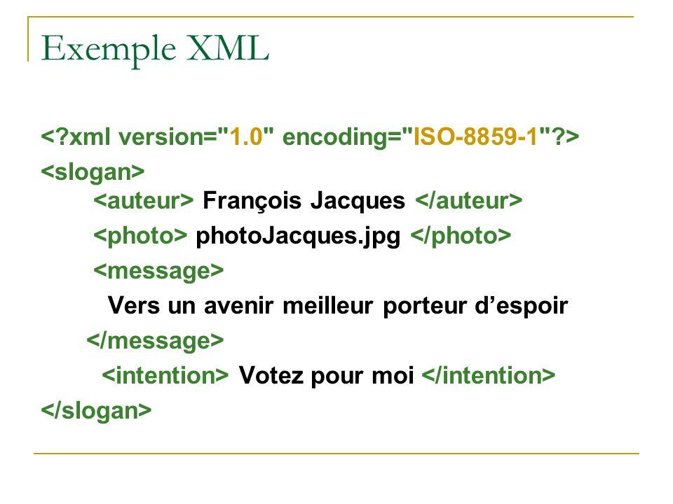 Exemple XML François Jacques photoJacques.jpg Vers un avenir meilleur porteur despoir Votez pour moi