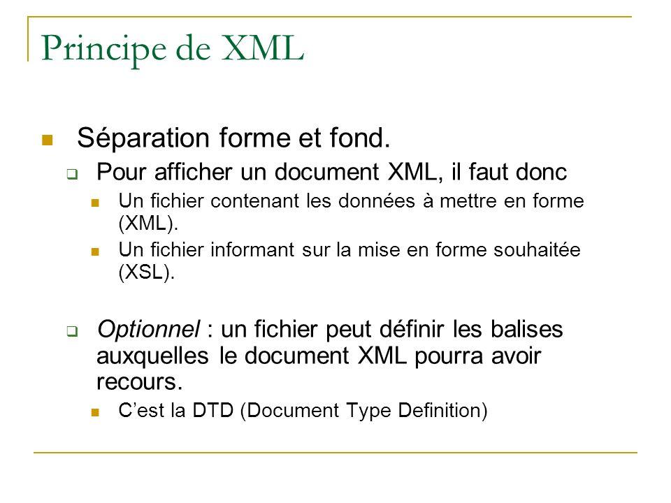 Principe de XML Séparation forme et fond. Pour afficher un document XML, il faut donc Un fichier contenant les données à mettre en forme (XML). Un fic