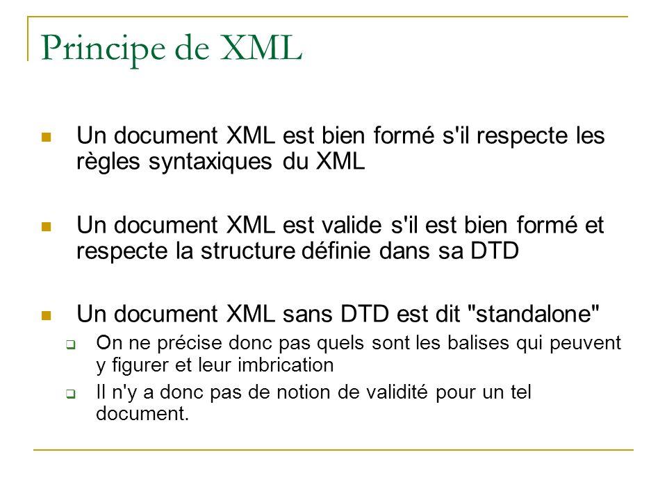 Principe de XML Un document XML est bien formé s'il respecte les règles syntaxiques du XML Un document XML est valide s'il est bien formé et respecte