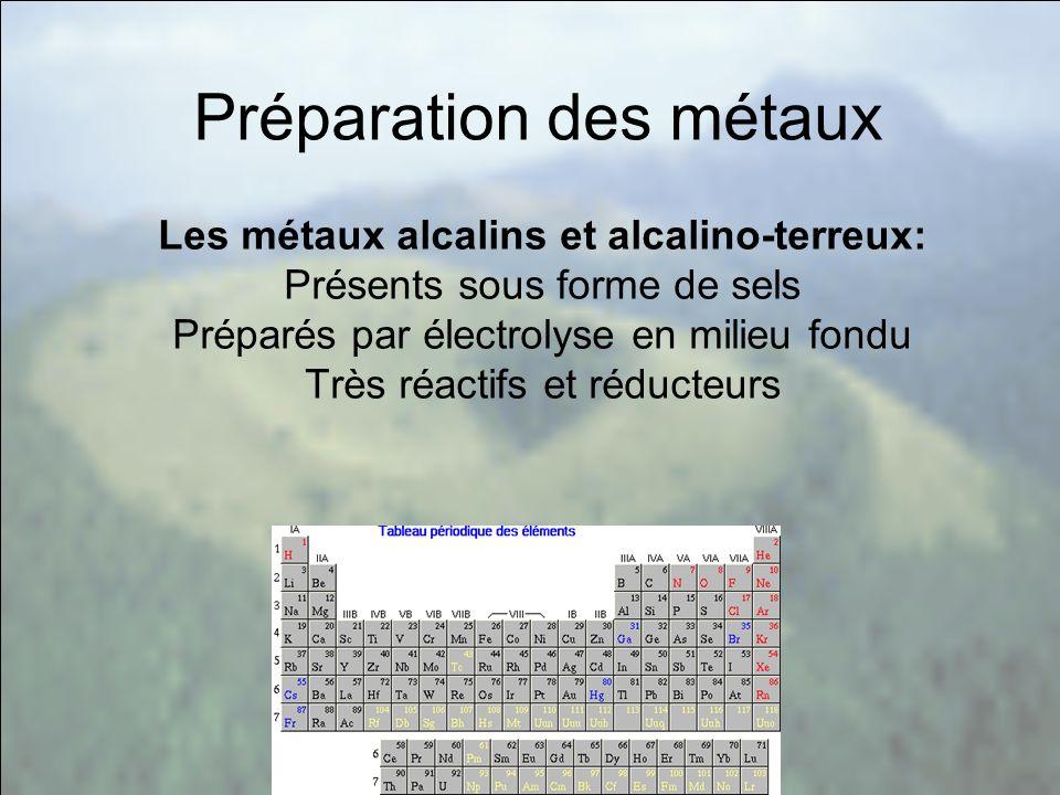 Les métaux alcalins et alcalino-terreux: Présents sous forme de sels Préparés par électrolyse en milieu fondu Très réactifs et réducteurs Préparation