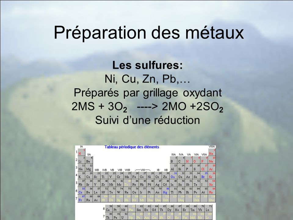 Au programme de la métallurgie: Thermochimie: fonctions détat, corps purs, variance, changement de phases.