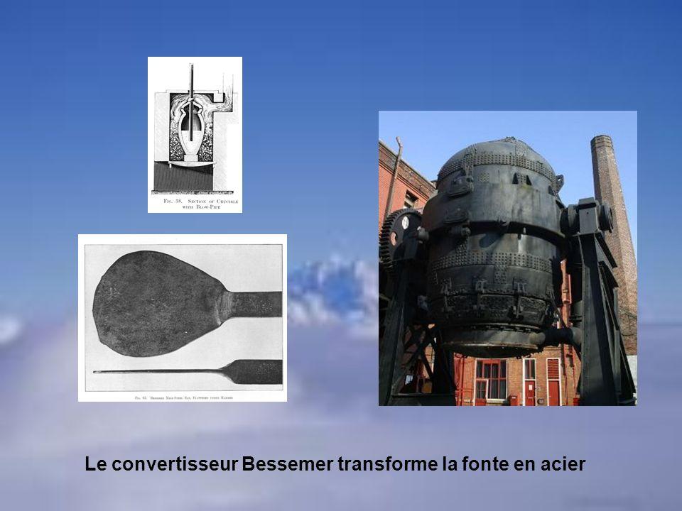 Le convertisseur Bessemer transforme la fonte en acier