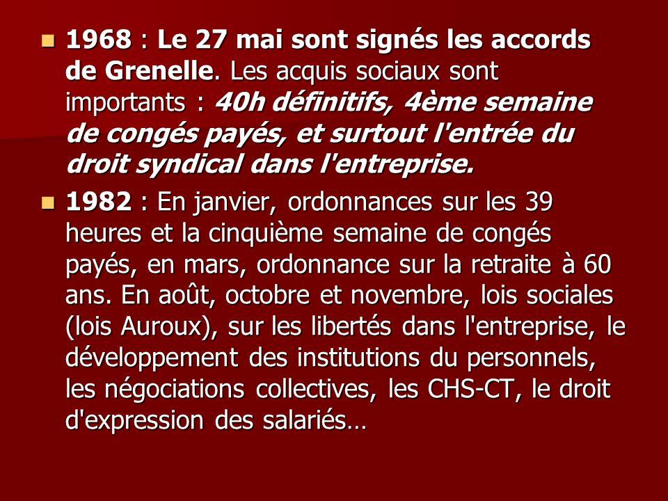 1968 : Le 27 mai sont signés les accords de Grenelle. Les acquis sociaux sont importants : 40h définitifs, 4ème semaine de congés payés, et surtout l'