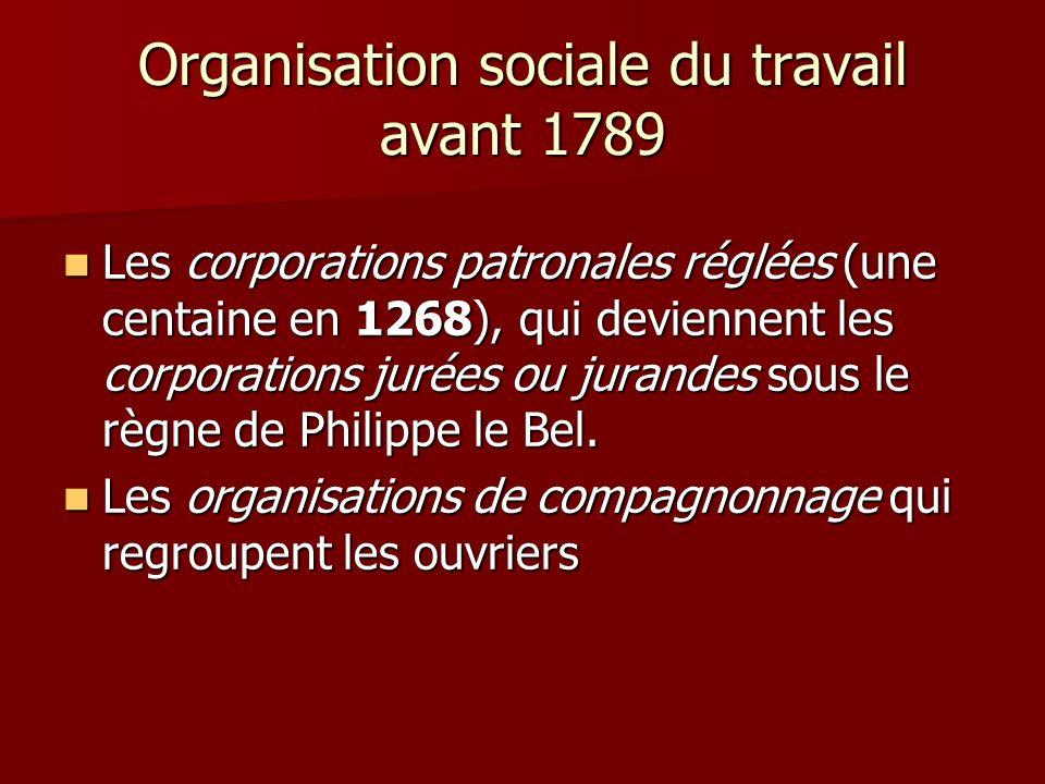 Organisation sociale du travail avant 1789 Les corporations patronales réglées (une centaine en 1268), qui deviennent les corporations jurées ou juran