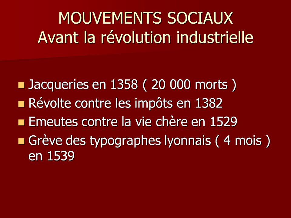MOUVEMENTS SOCIAUX Avant la révolution industrielle Jacqueries en 1358 ( 20 000 morts ) Jacqueries en 1358 ( 20 000 morts ) Révolte contre les impôts