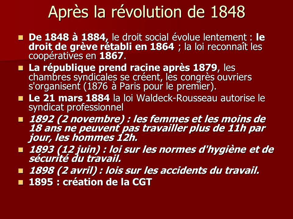 Après la révolution de 1848 De 1848 à 1884, le droit social évolue lentement : le droit de grève rétabli en 1864 ; la loi reconnaît les coopératives e