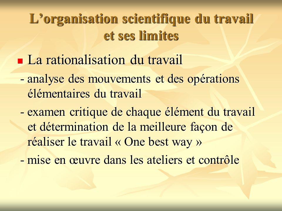 Lorganisation scientifique du travail et ses limites Le système des salaires stimulants Le système des salaires stimulants