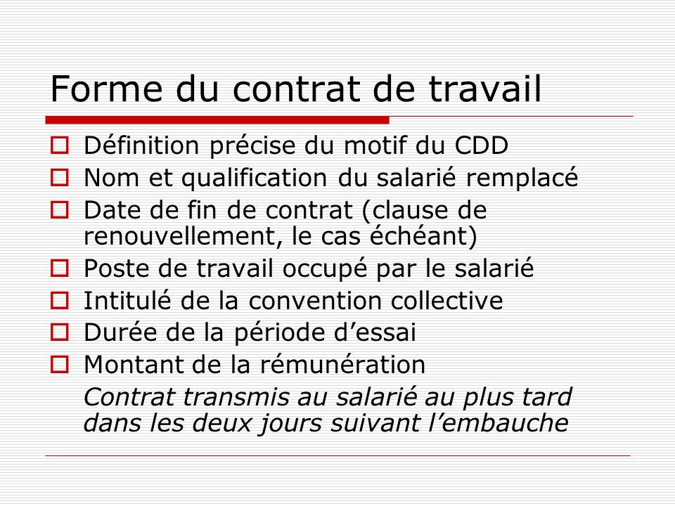 Forme du contrat de travail Définition précise du motif du CDD Nom et qualification du salarié remplacé Date de fin de contrat (clause de renouvelleme