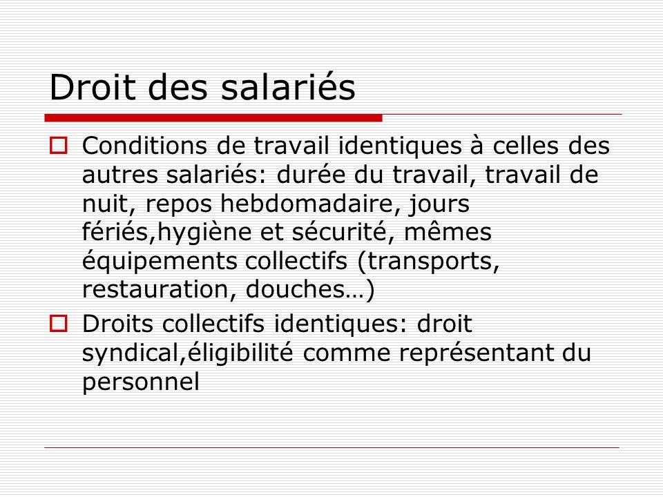 Droit des salariés Conditions de travail identiques à celles des autres salariés: durée du travail, travail de nuit, repos hebdomadaire, jours fériés,