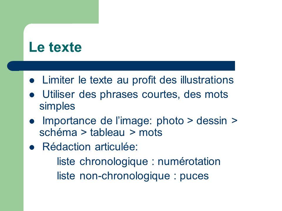 Le texte Limiter le texte au profit des illustrations Utiliser des phrases courtes, des mots simples Importance de limage: photo > dessin > schéma > t