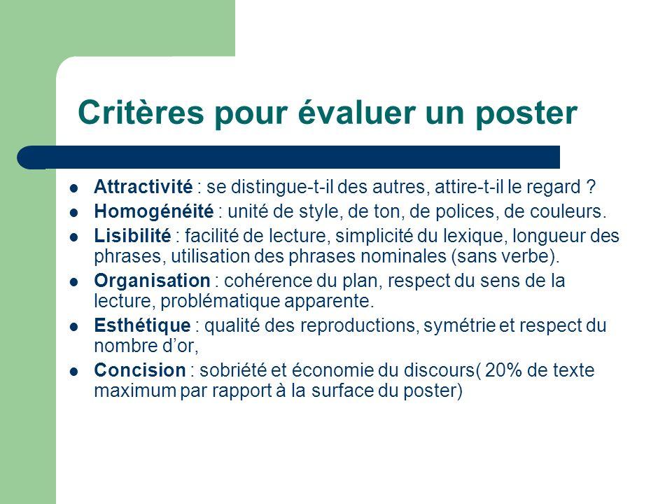 Critères pour évaluer un poster Attractivité : se distingue-t-il des autres, attire-t-il le regard ? Homogénéité : unité de style, de ton, de polices,