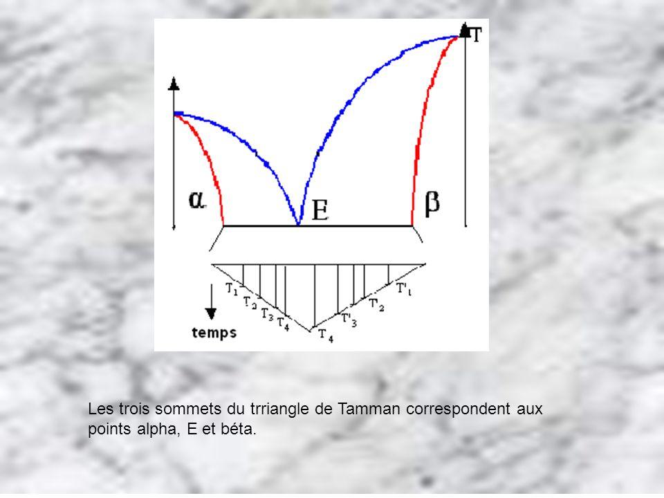 Les trois sommets du trriangle de Tamman correspondent aux points alpha, E et béta.