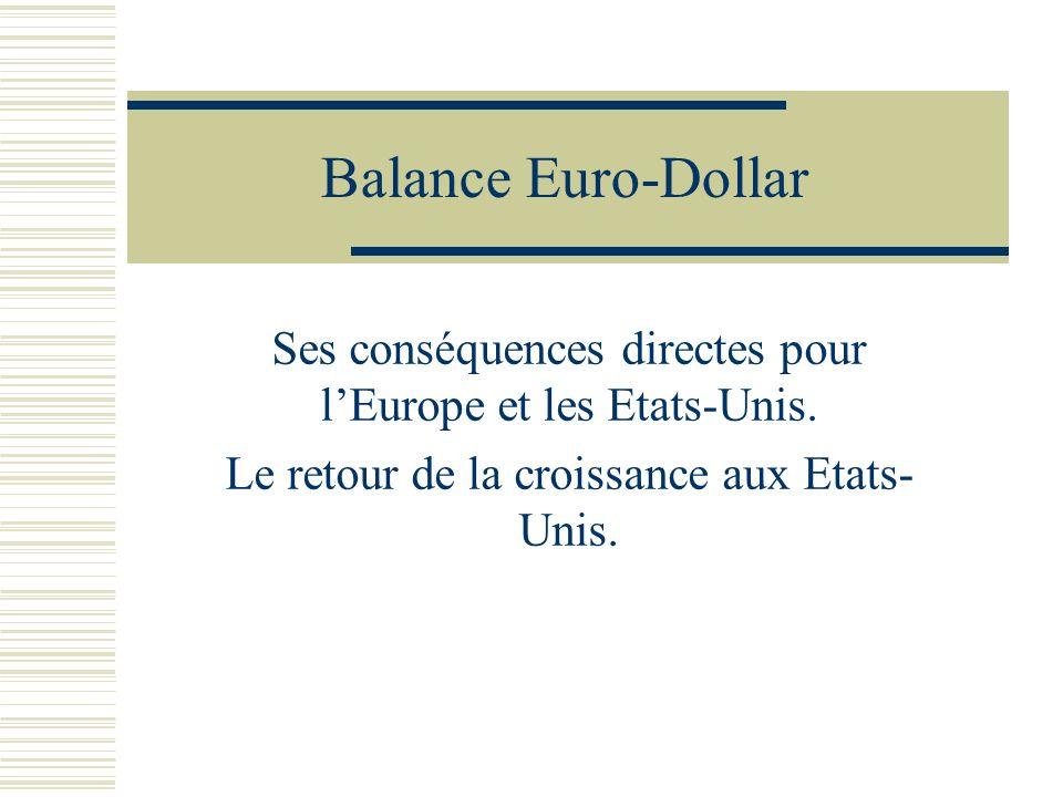 Balance Euro-Dollar Ses conséquences directes pour lEurope et les Etats-Unis. Le retour de la croissance aux Etats- Unis.