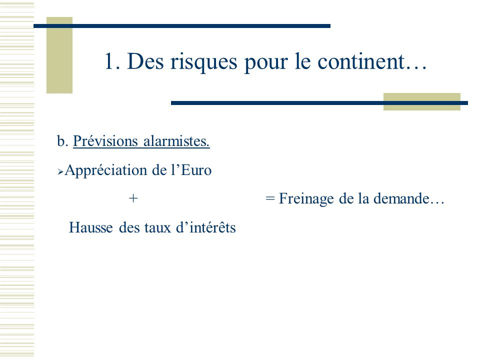 1. Des risques pour le continent… b. Prévisions alarmistes.