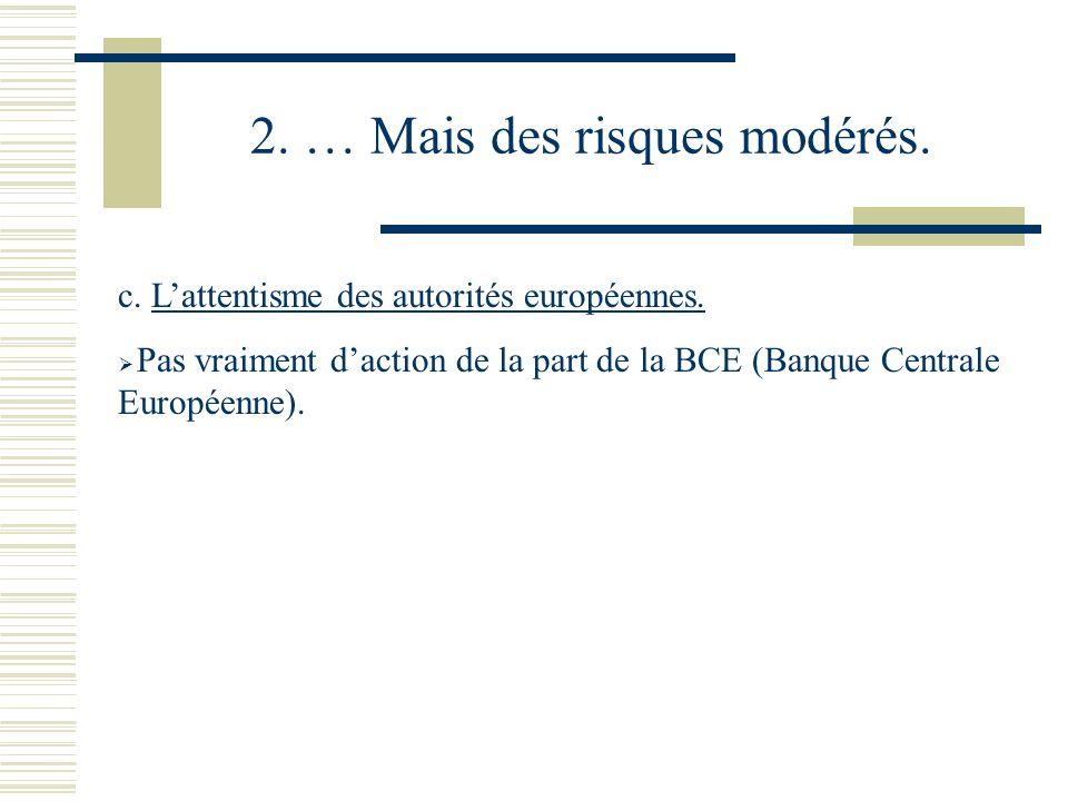 2. … Mais des risques modérés. c. Lattentisme des autorités européennes. Pas vraiment daction de la part de la BCE (Banque Centrale Européenne).