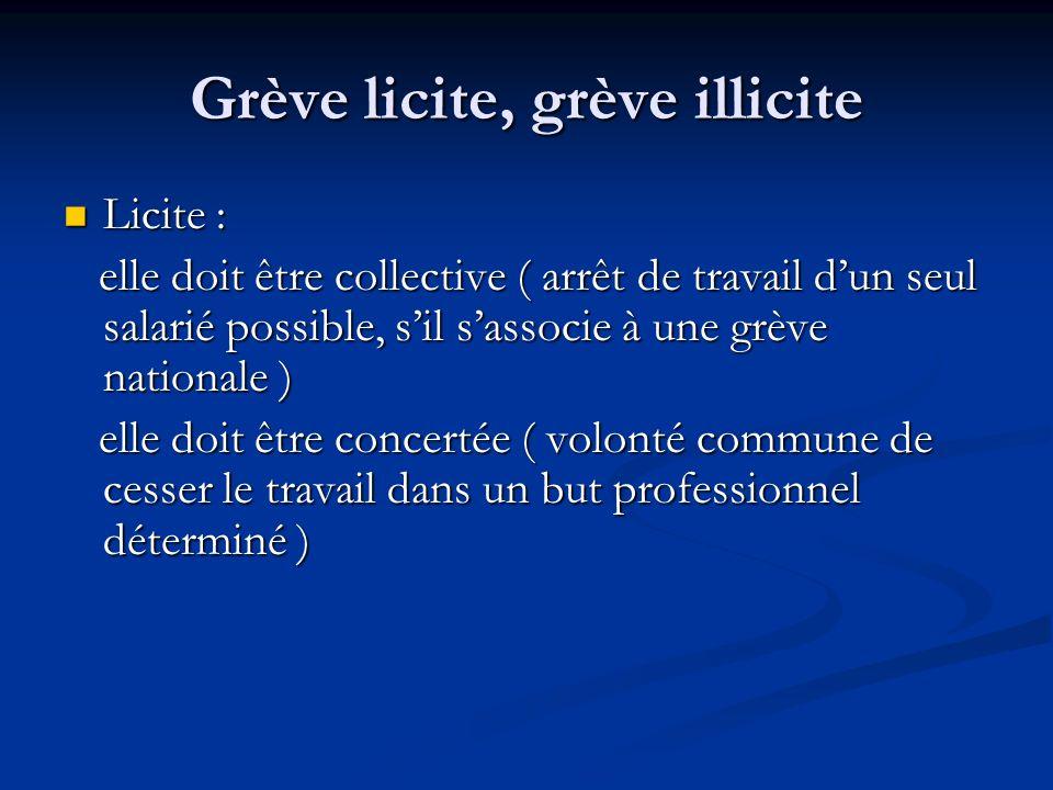 Grève licite, grève illicite Licite : Licite : elle doit être collective ( arrêt de travail dun seul salarié possible, sil sassocie à une grève nation