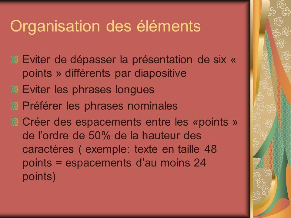 Organisation des éléments Eviter de dépasser la présentation de six « points » différents par diapositive Eviter les phrases longues Préférer les phra