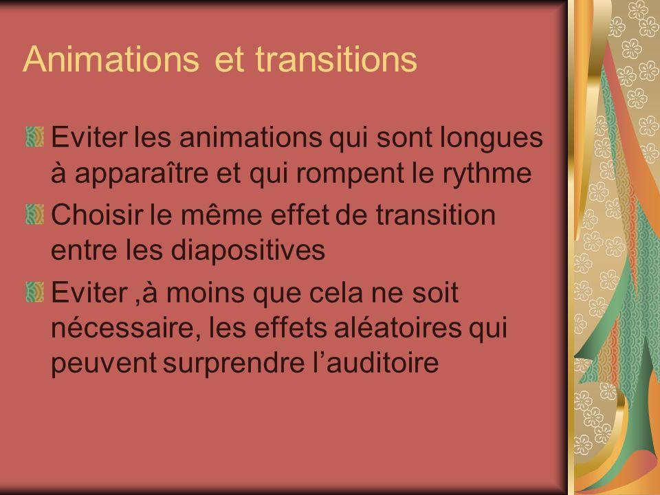 Animations et transitions Eviter les animations qui sont longues à apparaître et qui rompent le rythme Choisir le même effet de transition entre les d
