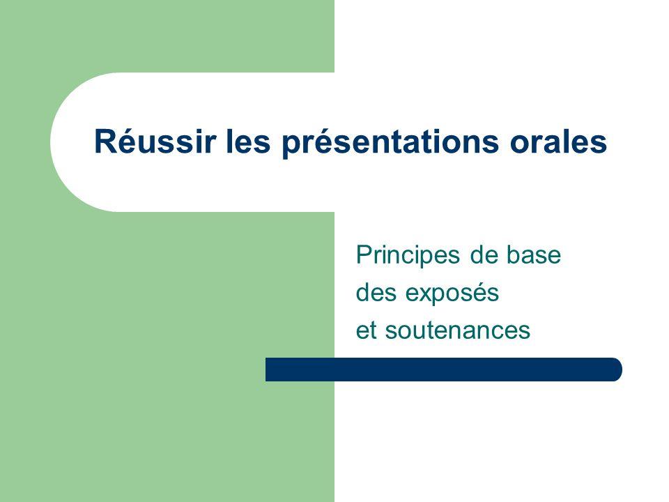 Réussir les présentations orales Principes de base des exposés et soutenances