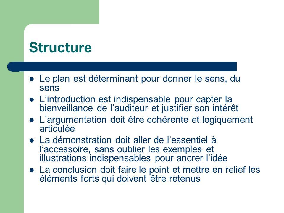 Structure Le plan est déterminant pour donner le sens, du sens Lintroduction est indispensable pour capter la bienveillance de lauditeur et justifier