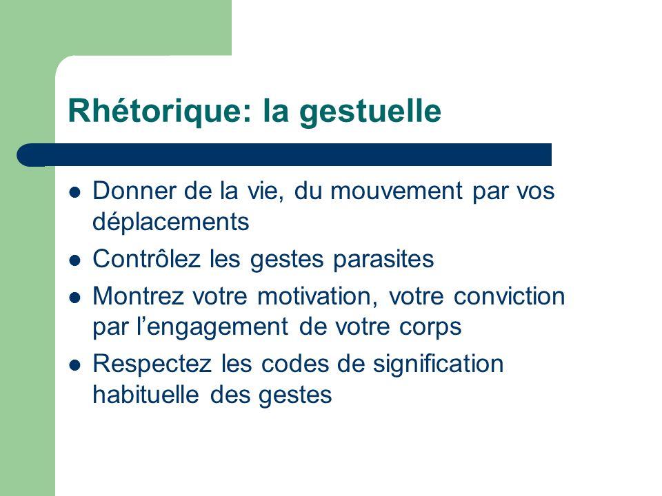 Rhétorique: la gestuelle Donner de la vie, du mouvement par vos déplacements Contrôlez les gestes parasites Montrez votre motivation, votre conviction
