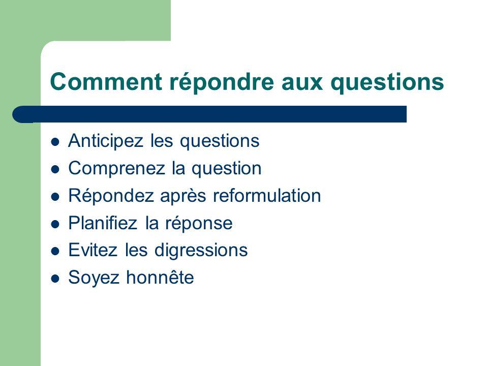Comment répondre aux questions Anticipez les questions Comprenez la question Répondez après reformulation Planifiez la réponse Evitez les digressions