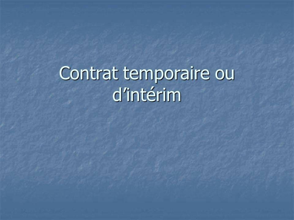 Contrat temporaire ou dintérim