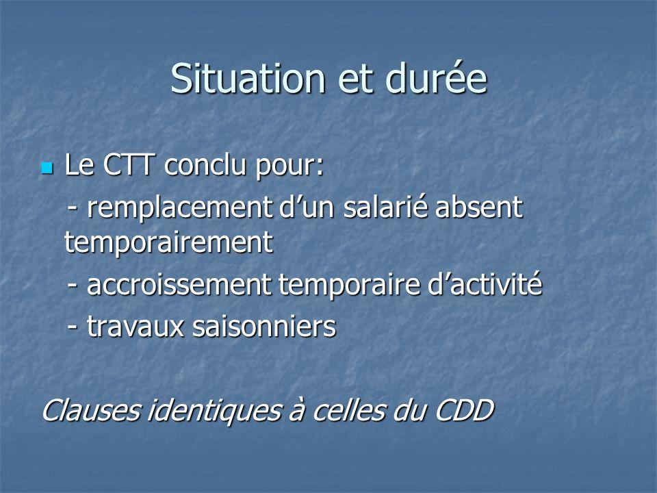 Situation et durée Le CTT conclu pour: Le CTT conclu pour: - remplacement dun salarié absent temporairement - remplacement dun salarié absent temporairement - accroissement temporaire dactivité - accroissement temporaire dactivité - travaux saisonniers - travaux saisonniers Clauses identiques à celles du CDD