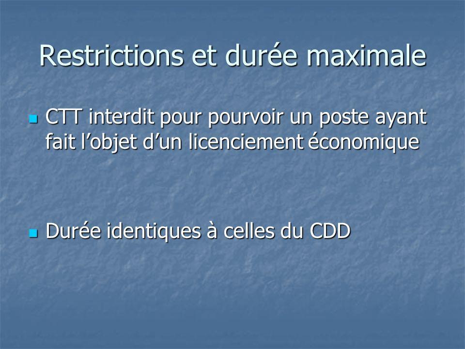 Restrictions et durée maximale CTT interdit pour pourvoir un poste ayant fait lobjet dun licenciement économique CTT interdit pour pourvoir un poste ayant fait lobjet dun licenciement économique Durée identiques à celles du CDD Durée identiques à celles du CDD