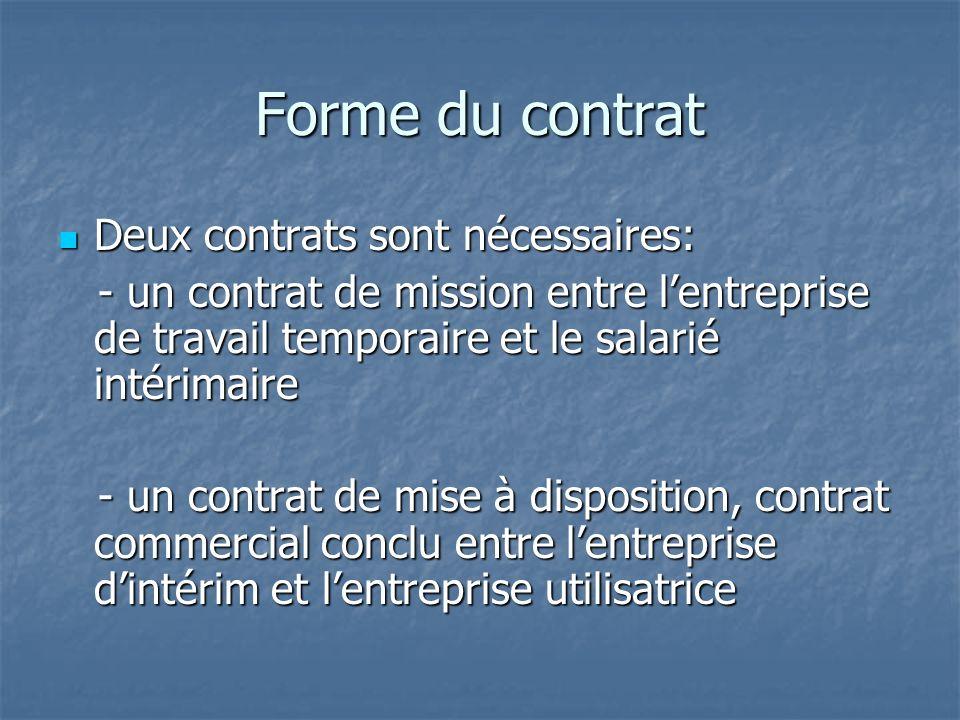 Forme du contrat Deux contrats sont nécessaires: Deux contrats sont nécessaires: - un contrat de mission entre lentreprise de travail temporaire et le salarié intérimaire - un contrat de mission entre lentreprise de travail temporaire et le salarié intérimaire - un contrat de mise à disposition, contrat commercial conclu entre lentreprise dintérim et lentreprise utilisatrice - un contrat de mise à disposition, contrat commercial conclu entre lentreprise dintérim et lentreprise utilisatrice