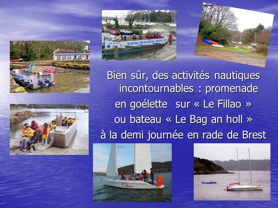 Bien sûr, des activités nautiques incontournables : promenade en goélette sur « Le Fillao » ou bateau « Le Bag an holl » à la demi journée en rade de Brest